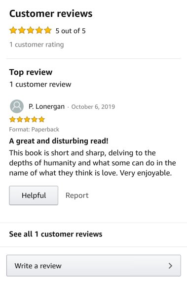 "First Review on Amazon - ""A Great and Disturbing Read!"""